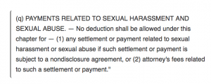 Tax Code Effects Sexual Harassment Settlements